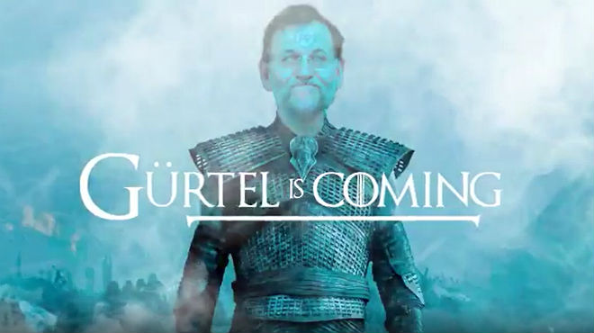 Vídeo parodia difundido por Podemos e IU sobre la comparecencia de Rajoy por Gürtel.