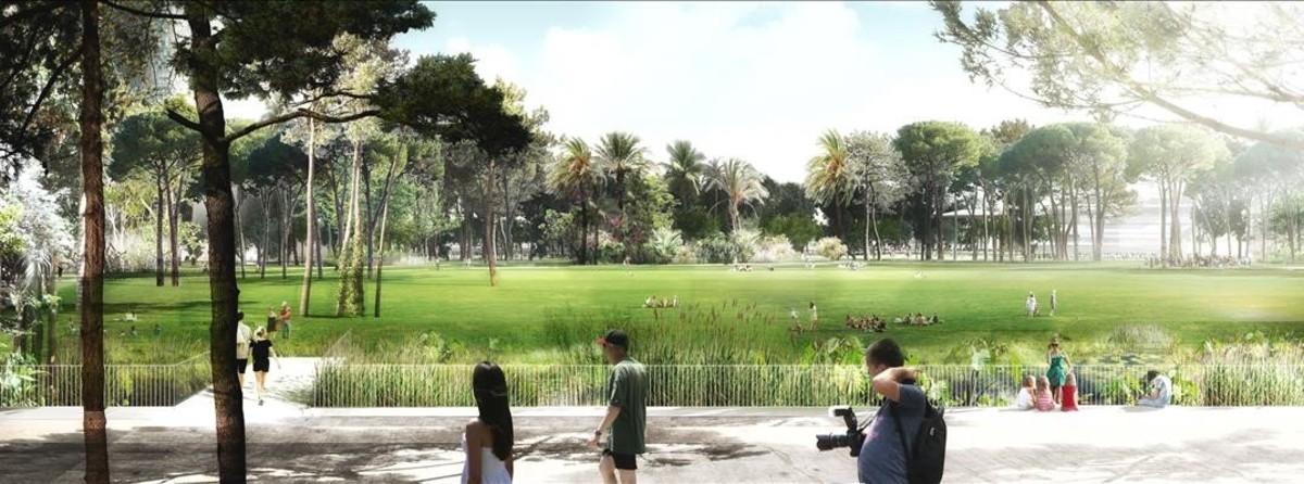 La gran explanada situada en la zona centro del parque de las Glòries.