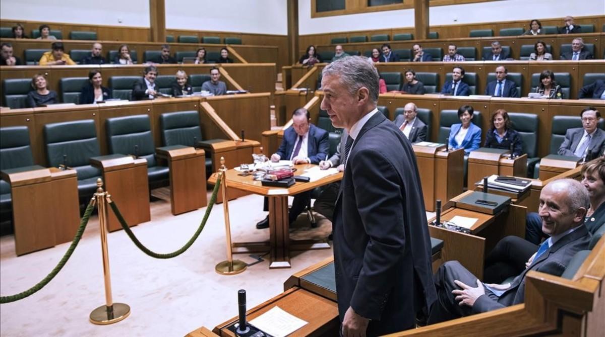 Iñigo Urkullu, durante el pleno de investidura en el Parlamento Vasco.