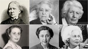 Concepción Arenal, Víctor Català, Elizabeth Mulder, Luisa Carnés, Mercedes Formica y Felicidad Blanc, de izquierda a derecha y de arriba abajo