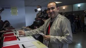 Javier Pacheco, nuevo secretario general de CCOO de Catalunya, durante la votación.
