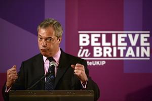 El líder del Partido por la Independencia del Reino Unido (UKIP), Nigel Farage, en un discurso en Hartlepool.