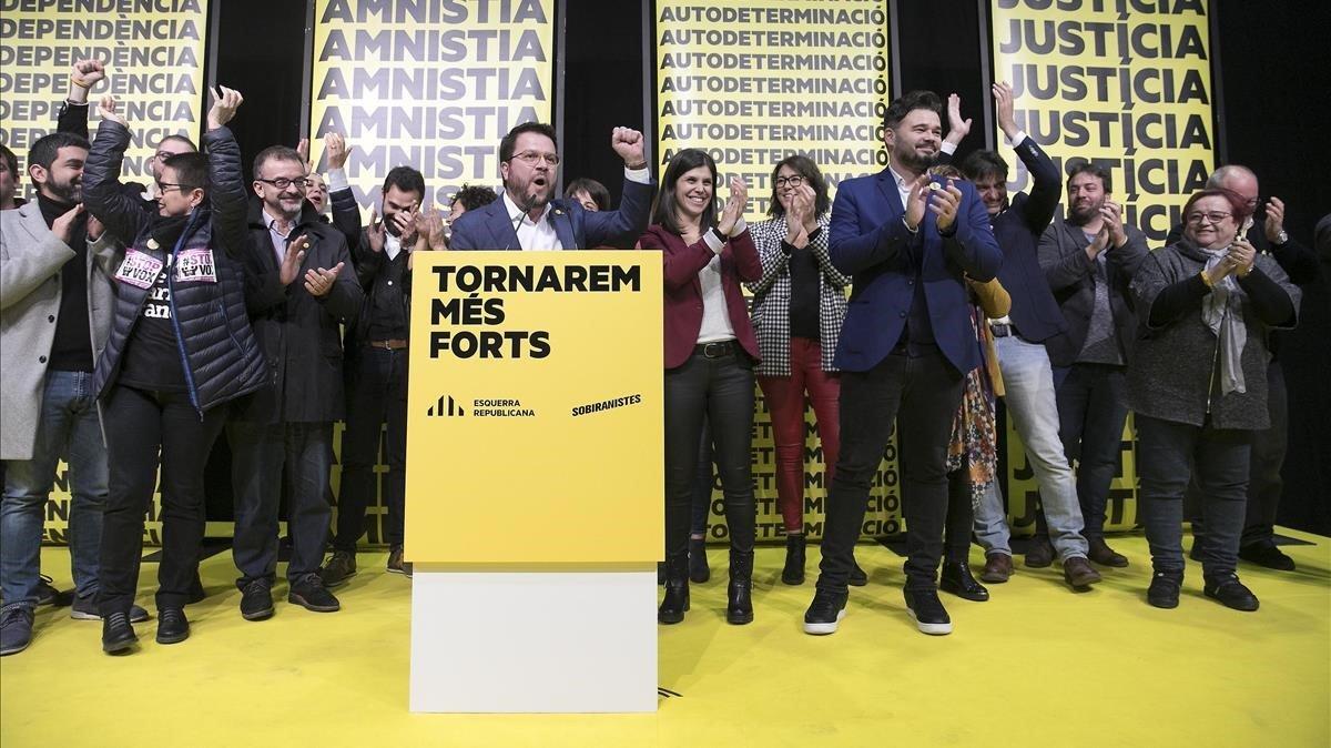 Los dirigentes de ERC celebran los resultados de las generales del 10-N
