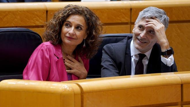 María Jesús Montero y Grande Marlaska, en el Senado.