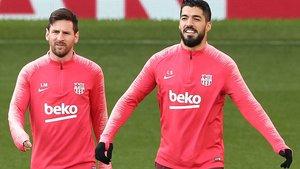 Messi y Luis Suárez se entrenan en Old Trafford antes del Manchester United-Barcelona.