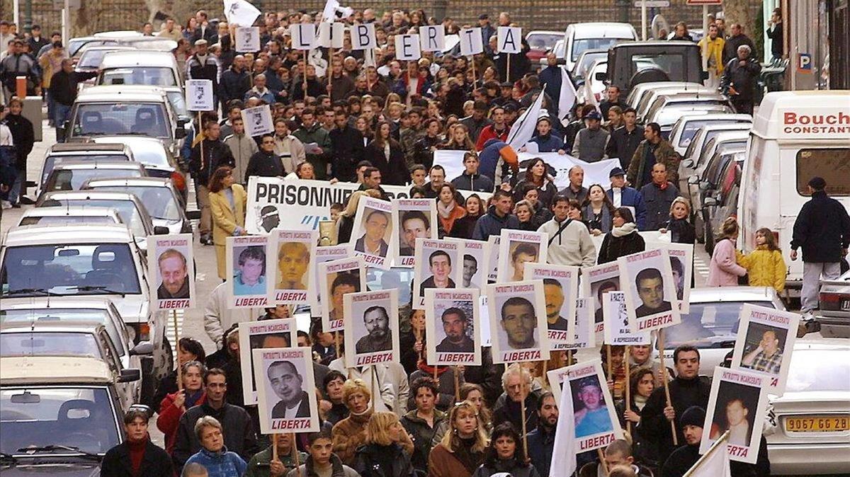 Manifestación en favor de los presos corsos, en una imagen de archivo.