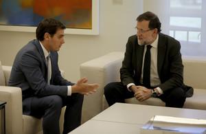 Mariano Rajoy y Albert Rivera, durante una reunión enla Moncloa.