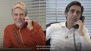 Reed Hashtings (izquierda), y José María Álvarez-Pallete (derecha), durante el vídeo promocional del acuerdo entre Netflix y Telefónica.