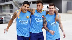 Messi, Neymar y Suárez, en la época del tridente que ganó la Champions.
