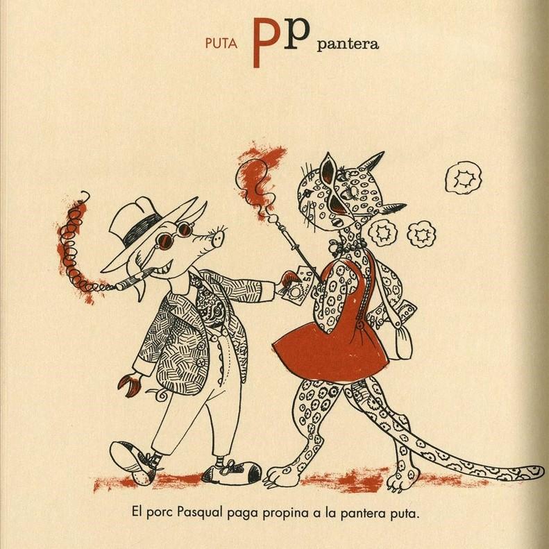 Página de 'Abcdari per a adults', de Òscar Dalmau y Pilarín Bayés.