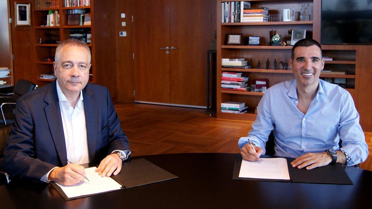 Pere Navarro, delegado especial del Estado en el Consorci de la Zona Franca de Barcelonay presidente de DFactory, yMiquel Vicente, presidente deBarcelona Tech City.