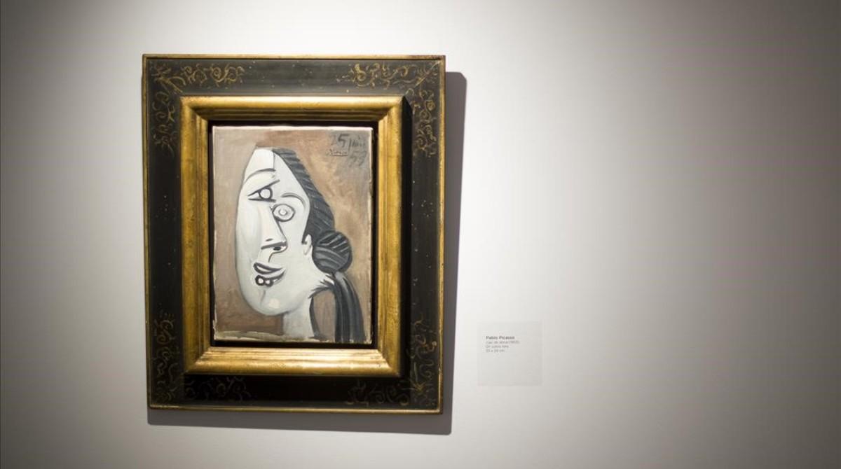 Pintura de Picasso 'Cabeza de mujer' (1953), en la muestra 'Artistas revolucionarios', en la galería Mayoral.