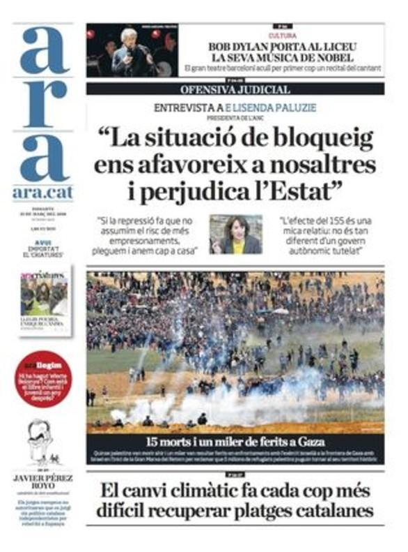 """""""El soberanismo se niega a pactar y amenaza con más protestas"""" ('El País')"""