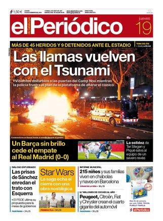 La portada de EL PERIÓDICO del 19 de diciembre del 2019.
