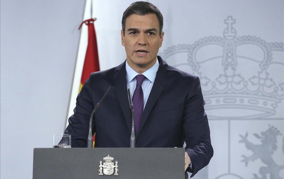 El presidente del Gobierno, Pedro Sánchez, en una comparecencia en la Moncloa.