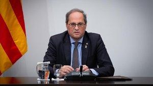 El presidente de la Generalitat, Quim Torra, durante una reunión del Consell Executiu.