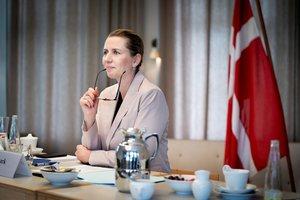 Mette Frederiksen, durante una reunión virtual con otros líderes de la UE, el pasado 19 de junio.