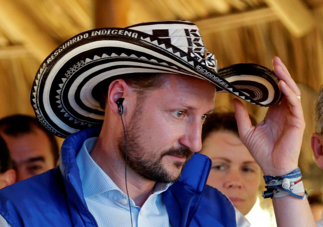 El principe Haakon Magnus de Noruegadurante su visita a Colombia.
