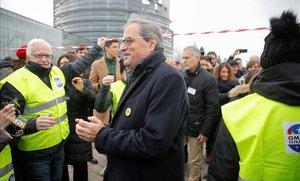 Quim Torra, en Estrasburgo para acompañar a Puigdemont y Comín en el Parlamento Europeo.