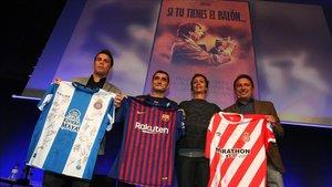 Rubi, Valverde, Susila Cruyff y Eusebio, en el auditorio de Mediapro.