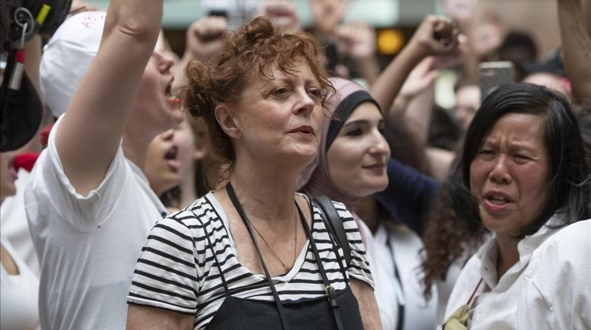 La actriz Susan Sarandon, detenida