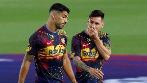 Suárez y Messi, en el calentamiento de un partido el pasado mes de junio.