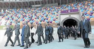 Tarraco Arena Plaça 8 El rei Felip VI encapçala la comitiva durant la seva visita a Tarragona, ahir.