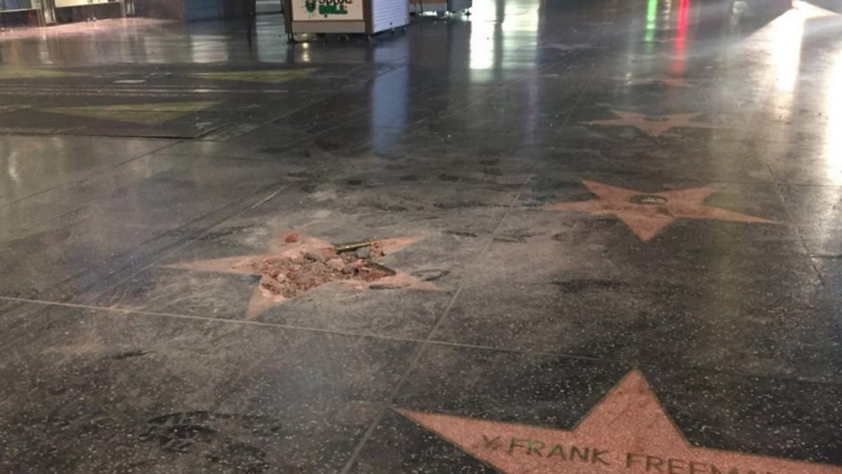 La estrella de Trump, tras sufrir un acto vandálico.