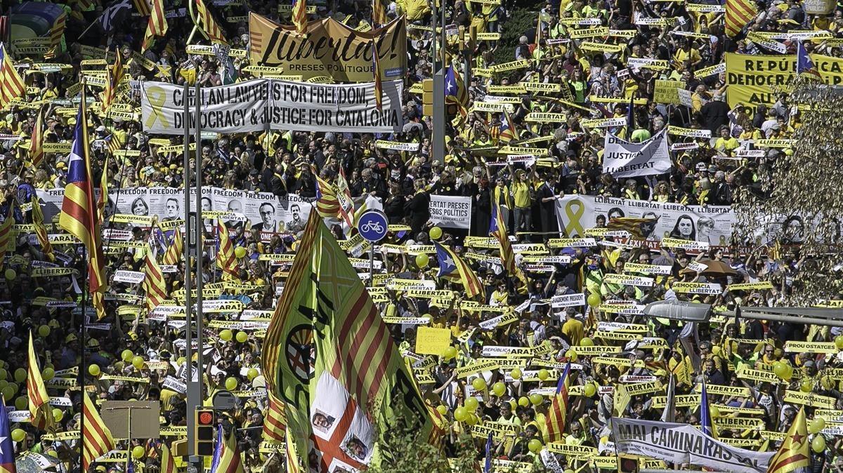 Una imagen de la manifestación del pasado domingo, 15 de abril, en Barcelona por la excarcelación de los presos independentistas.