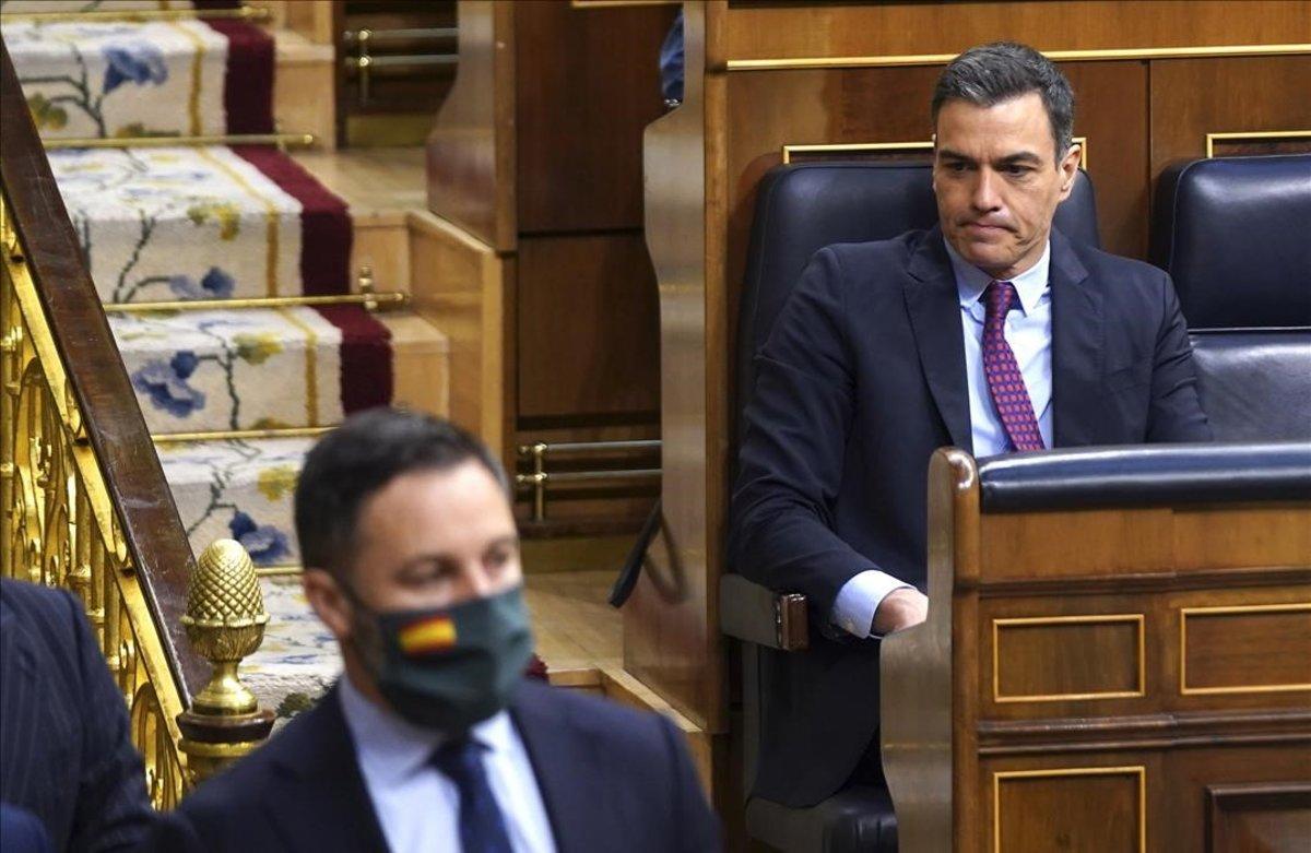 Santiago Abascal y Pedro Sánchez, el pasado 10 de junio en el Congreso de los Diputados.