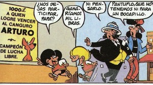 Viñeta de La vuelta al mundo (1971), primera aventura larga de Zipi y Zape, en la que los traviesos hermanos viajan con sus padres.