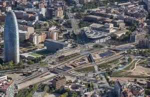 Vista aérea de la plaza de las Glòries.