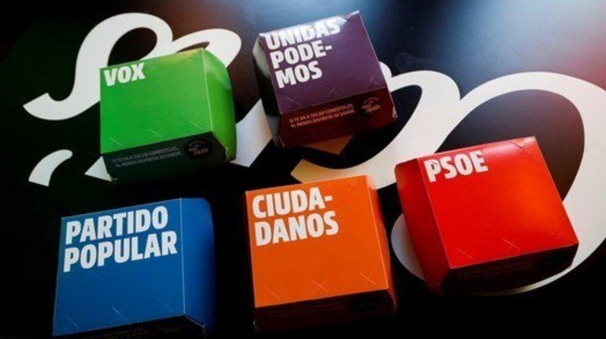 Lacadena estadounidense de hamburguesas Carl's Jr.ha lanzado unacampaña conhamburguesas del PSOE, PP, Ciudadanos, Unidas Podemos y Vox.