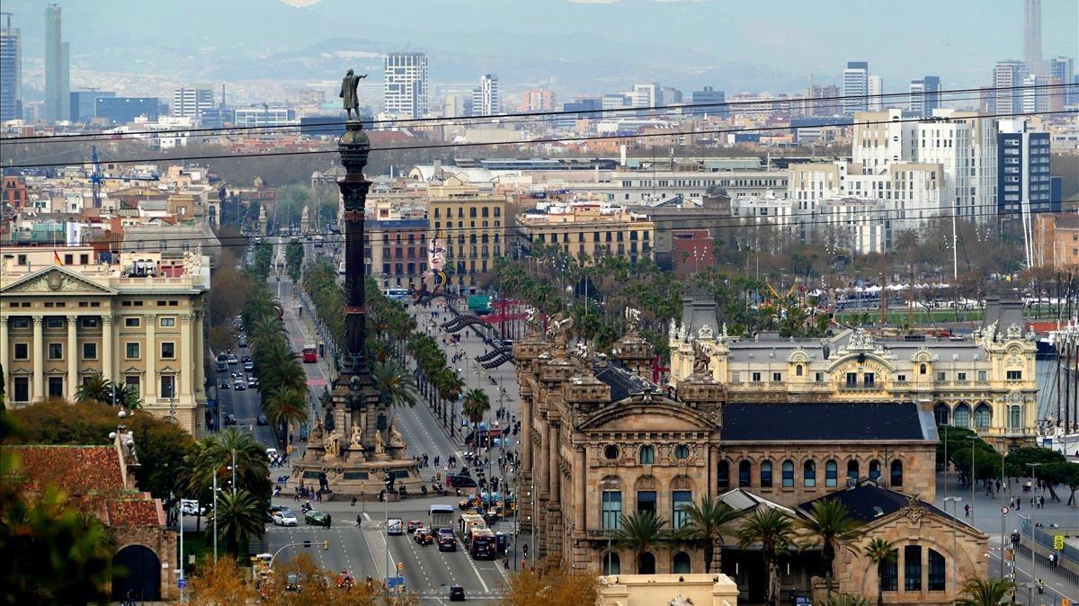 Barcelona vista desde Miramar, en Montjuïc.