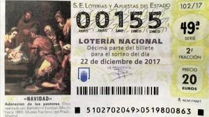 Décimo para el sorteo de Navidad con el número 00155.