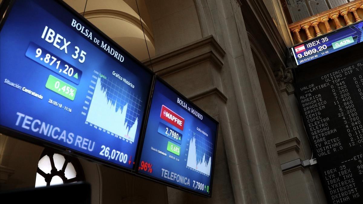 Panel de seguimiento del Ibex 35 en la Bolsa de Madrid.