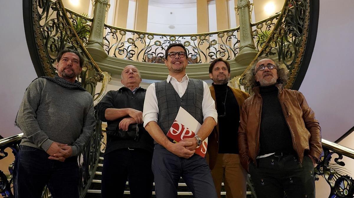 José Ángel Hevia, en el centro, con otros directivos de la SGAE, en diciembre del 2018.