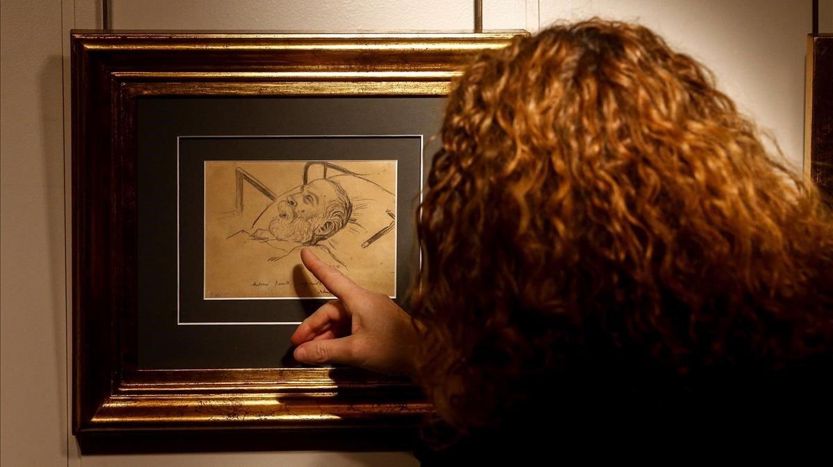 La obra de Ricard Opisso 'Antoni Gaudí agonizando'.
