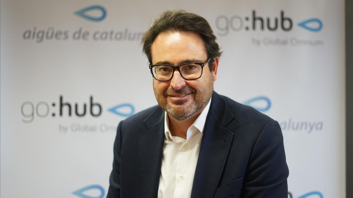 El presidente de Aigües de Catalunya, David Madí, presenta su centro de innovación GoHub en Barcelona.