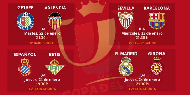 Sevilla-Barça, Madrid-Girona y Espanyol-Betis, duelos de cuartos de fi