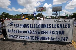Grupos opositores al Gobierno de Nicaragua protestan para exigir al presidente del país, Daniel Ortega, retirar por inconstitucional su candidatura a la reelección en las elecciones del próximo 6 de noviembre.