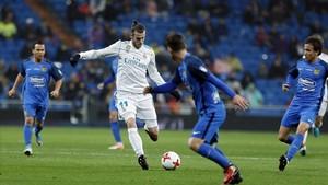 Bale, durante el encuentro de copa ante el Fuenlabrada