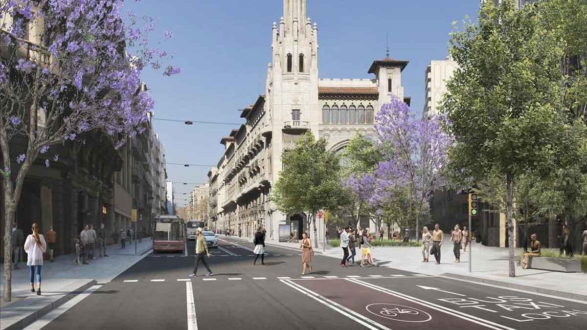 Imagen virtual de la Via Laietana después de la reforma, con la nueva distribución de carriles yla calle de Jonqueres pacificada. En el vídeo,Janet Sanz, teniente de alcalde de Ecología, Urbanismo, Infraestructuras y Movilidad, explica la reforma de la calle.