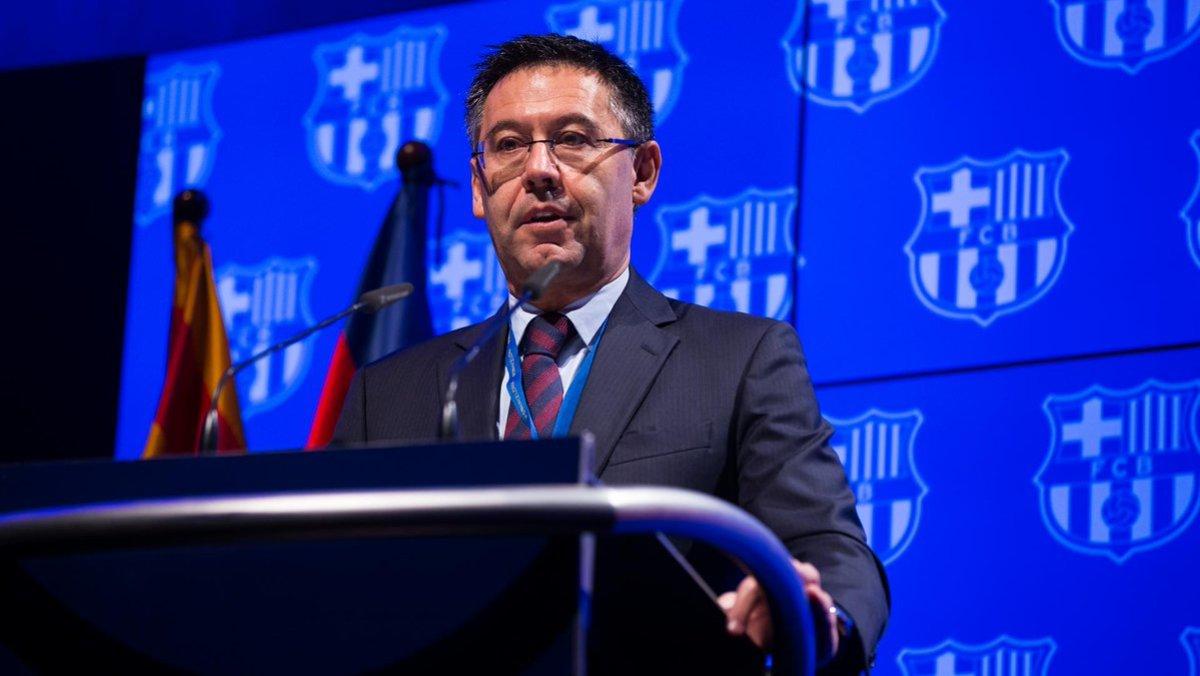 Josep Maria Bartomeu, durante su discurso al senado azulgrana.