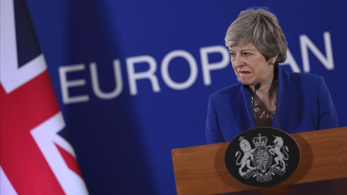 La primera ministra británica,Theresa May, el pasado 14 de abril en Bruselas.