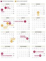 Calendario laboral del País Vasco del 2020.