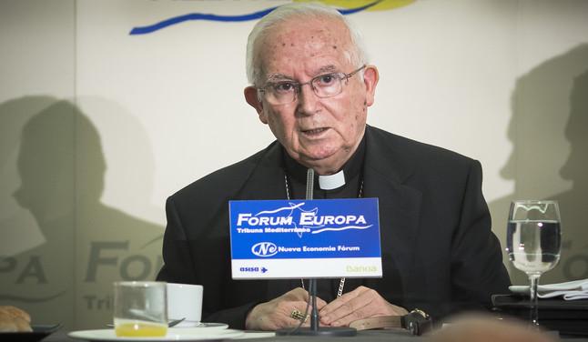 Cañizares, arzobispo de Valencia, durante su intervención en el Fórum Europa Tribuna Mediterránea, este miércoles.