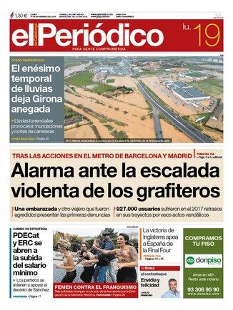 La portada d'EL PERIÓDICO del 19 de novembre del 2018