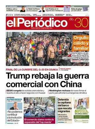 La portada d'EL PERIÓDICO del 30 de juny del 2019