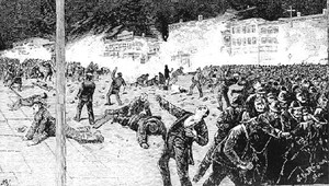 Dibujo sobre la represión policial en Chicago de la manifestación del 1 de Mayo de 1886.
